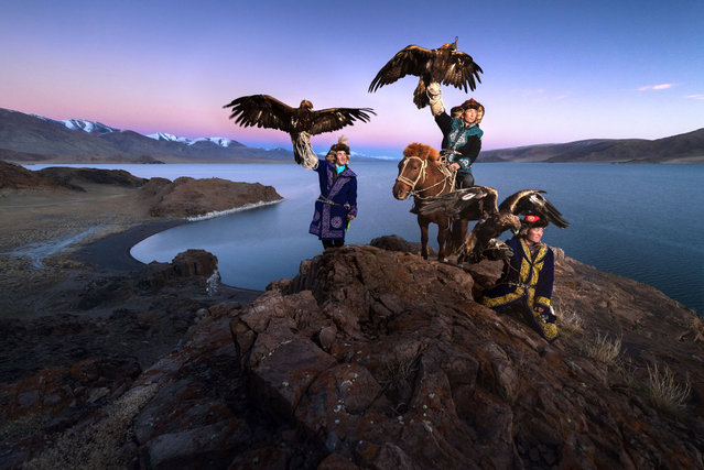 Daniel witnessed the eagle hunters showing their skills via traditional games such as calling from the cliff. (Photo by Daniel Kordan/Caters News Agency)