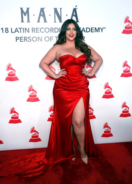 Plus-size fashion model Denise Bidot arrives for the 2018 Latin Recording Academy Person of The Year Gala honoring Mana, a Mexican rock band, in Las Vegas, Nevada, U.S. November 14, 2018. (Photo by Steve Marcus/Reuters)