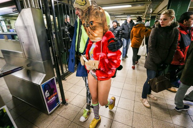 "Young people wearing no pants participate in the ""No Pants Subway Ride"" in  New York City, 13 January 2019. No Pants Subway Ride is an annual global event started in New York, USA in 2002. (Photo by William Volcov/ZUMA Press)"