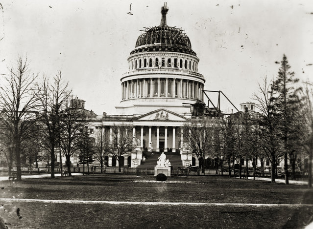 The U. S. Capitol, with its dome still uncompleted. Washington D. C., 1864. (Photo by Library of Congress/Corbis/VCG via Getty Images)