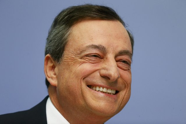 European Central Bank President Mario Draghi smiles during a news conference in Frankfurt, April 15, 2015. (Photo by Ralph Orlowski/Reuters)
