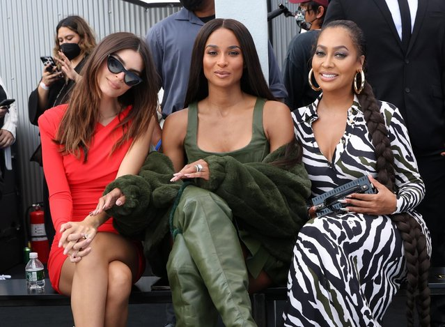 From left to right, Emily Ratajkowski, Ciara and La La Anthony sit front row while attending the DUNDAS x REVOLVE New York Fashion Week Show in Manhattan, New York City, U.S., September 8, 2021. (Photo by Caitlin Ochs/Reuters)