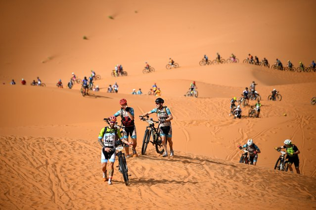 Competitors ride their bikes along sand dune during the Stage 1 of the 14th edition of Titan Desert 2019 mountain biking race around Merzouga in Morocco on April 28, 2019. (Photo by Franck Fife/AFP Photo)