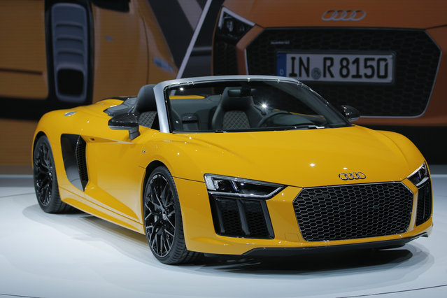 The Audi 2017 R8 Spyder is seen during the 2016 New York International Auto Show media preview in Manhattan, New York on March 23, 2016. (Photo by Eduardo Munoz/Reuters)