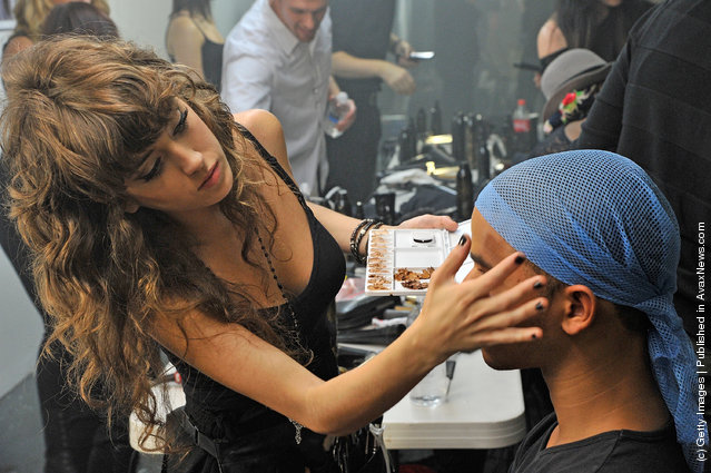 A view backstage at the Tim Hamilton Project Spring 2012 fashion show during Mercedes-Benz Fashion Week