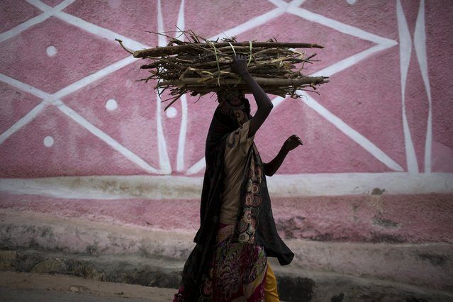 A woman carries a stack of wood in the old walled town of Harar in eastern Ethiopia, May 20, 2015. (Photo by Siegfried Modola/Reuters)