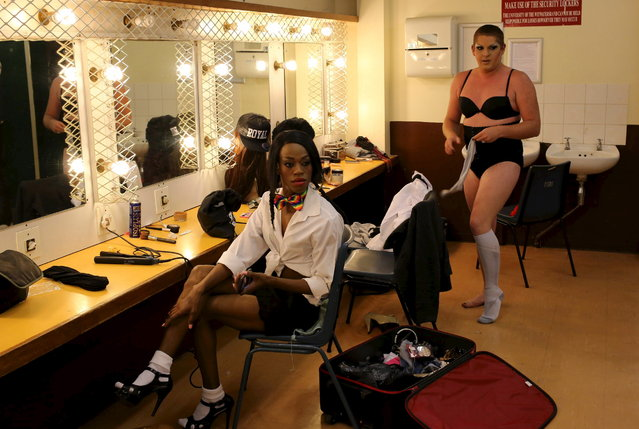 Contestants make preparations backstage ahead of the Miss Gay Jozi pageant in Johannesburg, May 23, 2015. (Photo by Siphiwe Sibeko/Reuters)