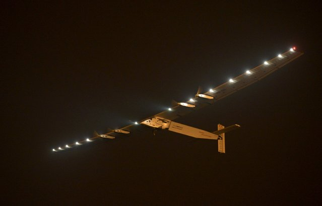 The Solar Impulse 2 plane takes off at the Nanjing Lukou International Airport, Jiangsu province, China, May 31, 2015. The plane took off from eastern China's Nanjing after more than a month of delay to complete the most challenging leg yet of its Round The World adventure: the crossing of the Pacific via Hawaii. Pilots Piccard and Borschberg will take turns at the controls of Solar Impulse 2, which began its journey in Abu Dhabi in the United Arab Emirates on March 9, as it makes its way in the first round-the-world solar-powered flight in about 25 flight days at speeds of between 50 kph and 100 kph (30 mph to 60 mph).