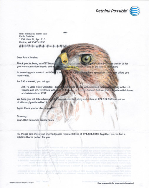 Paula Swisher, 37, has drawn hundreds of birds in her lifetime and puts her love of ornithology down to the nature walks she went on when as a youngster. A hawk drawn by Paula. (Photo by Paula Swisher/Caters News)