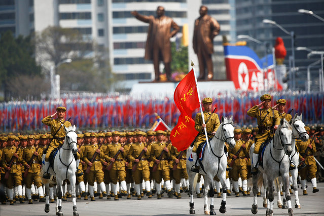 Soldiers, including cavalry, march during the military parade marking the 105th birth anniversary of country's founding father Kim Il Sung in Pyongyang, North Korea, April 15, 2017. (Photo by Damir Sagolj/Reuters)
