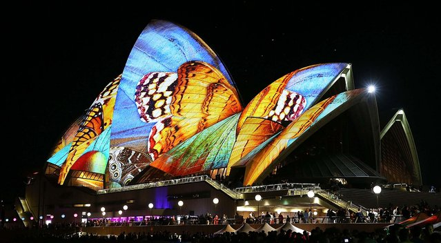 The Sydney Opera House lights up as part of VIVID Live in Sydney, Australia, on May 23, 2014. VIVID Sydney is an annual event celebrating the themes of music, light and ideas throughout the city. (Photo by Mark Metcalfe/Getty Images)