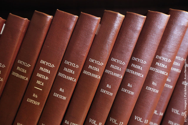Encyclopedia Britannica editions are seen at the New York Public Library