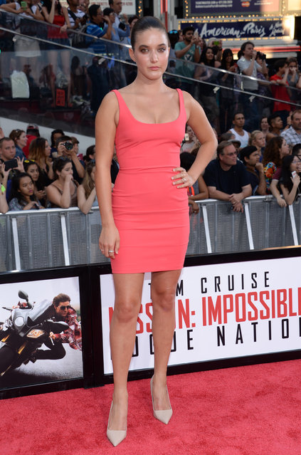 """Alaia Baldwin attends the premiere of """"Mission: Impossible – Rogue Nation"""" in Times Square on Monday, July 27, 2015, in New York. (Photo by Evan Agostini/Invision/AP Photo)"""