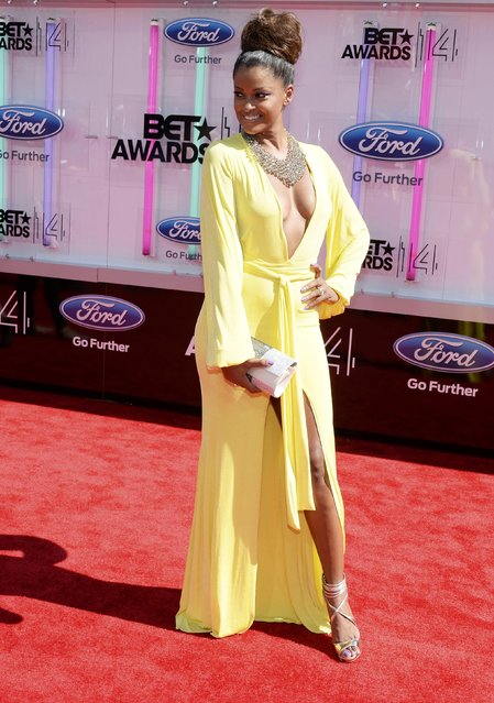 Claudia Jordan arrives at the 2014 BET Awards in Los Angeles, California June 29, 2014. (Photo by Kevork Djansezian/Reuters)