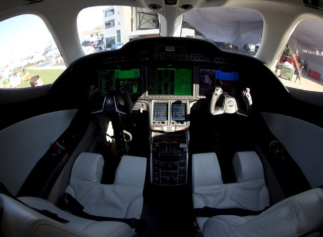 The cockpit of Honda jet is seen at Congonhas airport in Sao Paulo, Brazil, August 10, 2015. (Photo by Paulo Whitaker/Reuters)