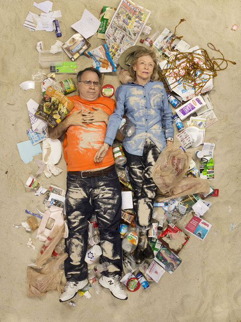 Sam and Jane surrounded by seven days of their own rubbish in Pasadena, California. I (Photo by Gregg Segal/Barcroft Media)