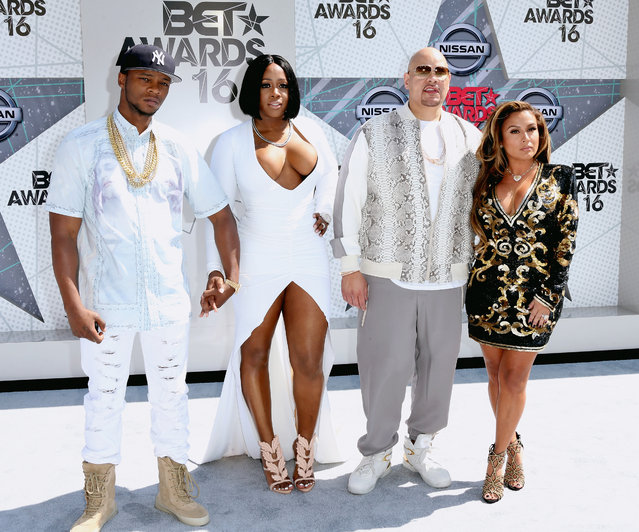 (L-R) Rappers Papoose, Remy Ma, and Fat Joe with Lorena Cartagena attend the 2016 BET Awards at the Microsoft Theater on June 26, 2016 in Los Angeles, California. (Photo by Frederick M. Brown/Getty Images)