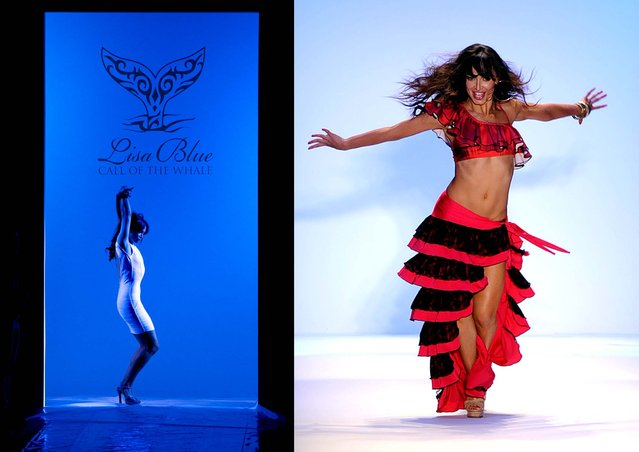 Karina Smirnoff, of Dancing with the Stars, performs in the Lisa Blue fashion show. (J Pat Carter/Associated Press, Meghan McCarthy/The Palm Beach Daily News)