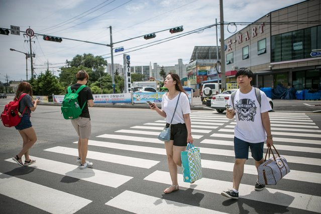 South Korean youths walk on the cross walk as they play Pokemon Goon July 15, 2016 in Sokcho, South Korea. (Photo by Jean Chung/Getty Images)