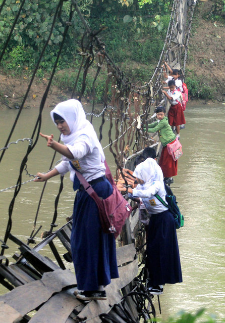 In this photograph taken on January 19, 2012, Indonesian schoolchildren hold on to iron cables as they cross a nearly-collapsed suspension bridge at Sanghiang Tanjung village in Indonesia's Banten province to reach their school. (Photo by Kris Aria/AFP Photo)