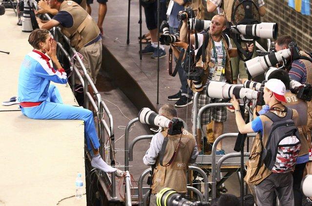 2016 Rio Olympics, Athletics, Final, Women's High Jump Final, Olympic Stadium, Rio de Janeiro, Brazil on August 20, 2016. Blanka Vlasic (CRO) of Croatia reacts. (Photo by David Gray/Reuters)