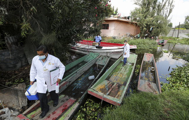 Dr. Jorge Ballesteros gets off a boat on his way to collect samples to test for COVID-19 at a home, in Xochimilco, Mexico City, Wednesday, August 5, 2020. (Photo by Eduardo Verdugo/AP Photo)