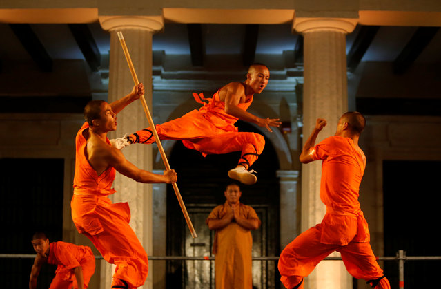 Shaolin monks of the Dengfeng Zhongyue Shaolin Boxing Culture Troupe from Henan Province in China perform in Valletta, Malta, September 17, 2016. (Photo by Darrin Zammit Lupi/Reuters)