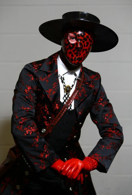 Heath Clark from Nottinghamshire dressed as his alter-ego 'Dead Rotten' poses for a photo at the London Super Comic Convention at the ExCeL Centre on February 23, 2013 in London, England. Enthusiasts at the Comic Convention are encouraged to wear a costume of their favourite comic character and flock to the ExCeL to gather all the latest news in the world of comics, manga, anime, film, cosplay, games and cult fiction. (Photo by Jordan Mansfield)