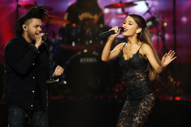 Adriana Grande and The Weeknd perform during the 42nd American Music Awards in Los Angeles. (Photo by Mario Anzuoni/Reuters)