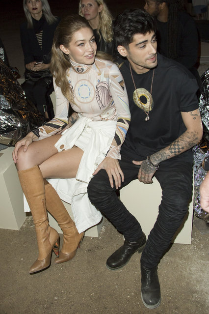 Gigi Hadid and Zayn Malik attend the Givenchy show as part of the Paris Fashion Week Womenswear Spring/Summer 2017on October 2, 2016 in Paris, France. (Photo by KCS Presse/Splash News)