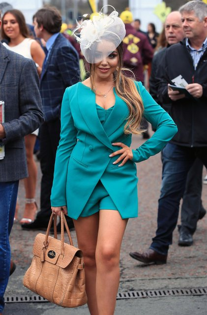 Racegoers attend day one of The Randox Health Grand National Festival at Aintree Racecourse on April 12, 2018 in Liverpool, England. (Photo by PA Wire)