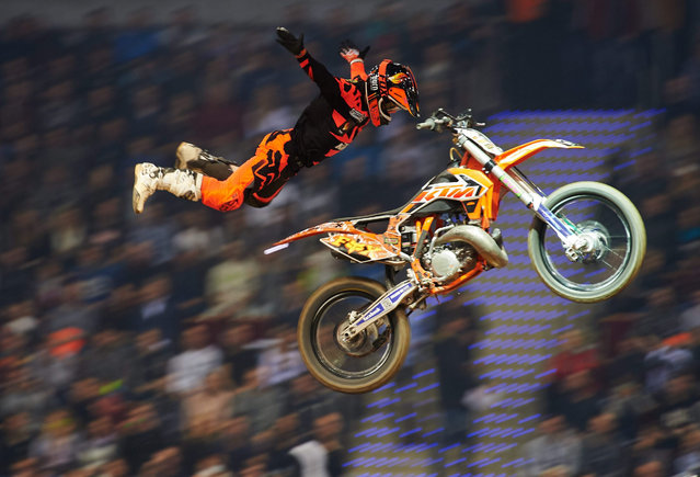 A picture made available on 22 November 2015 Jose Miralles of Spain during the fourth round of the Championship Freestyle MX World, Diverse Night of the Jump in Sopot, Poland, late 21 November. (Photo by Adam Warzawa/EPA)