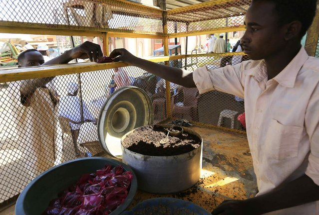 A trader sells snuff tobacco at  market in el Fasher, North Darfur February 5, 2015. (Photo by Mohamed Nureldin Abdallah/Reuters)