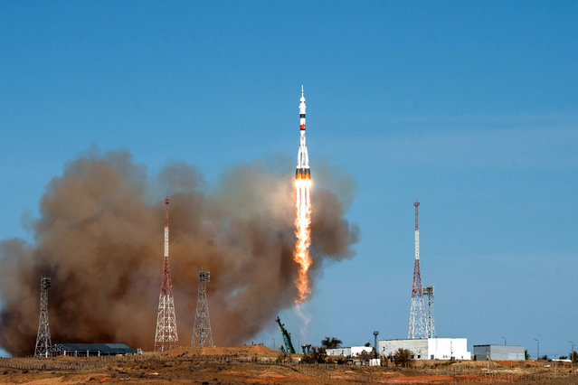 The Soyuz MS-17 spacecraft carrying the crew formed of Kathleen Rubins of NASA, Sergey Ryzhikov and Sergey Kud-Sverchkov of the Russian space agency Roscosmos blasts off to the International Space Station (ISS) from the launchpad at the Baikonur Cosmodrome, Kazakhstan on October 14, 2020. (Photo by Andrey Shelepin/GCTC/Russian space agency Roscosmos/Handout via Reuters)