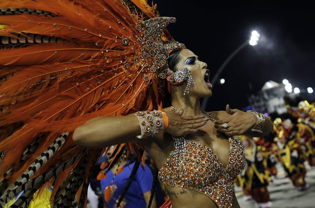 Revellers from Academicos do Tucuruvi Samba School take part in a carnival at Anhembi Sambadrome in Sao Paulo February 14, 2015. (Photo by Nacho Doce/Reuters)
