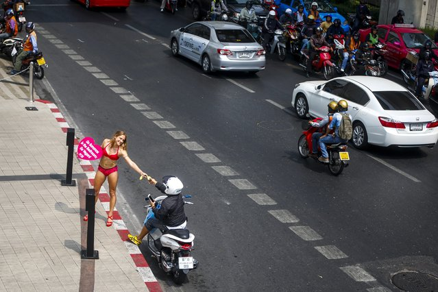 An animal rights activist from People for the Ethical Treatment of Animals (PETA) hands out bananas to motorists at an intersection in Bangkok, Thailand, 12 February 2015. (Photo by Diego Azubel/EPA)