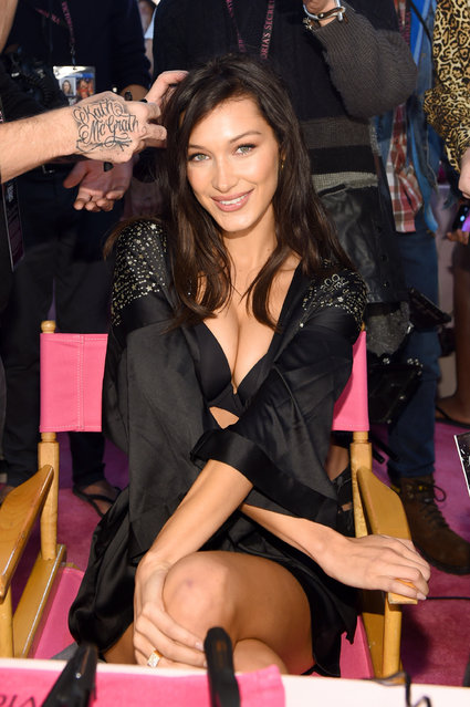 Bella Hadid prepares backstage during the 2018 Victoria's Secret Fashion Show in New York at Pier 94 on November 8, 2018 in New York City. (Photo by Dimitrios Kambouris/Getty Images for Victoria's Secret)