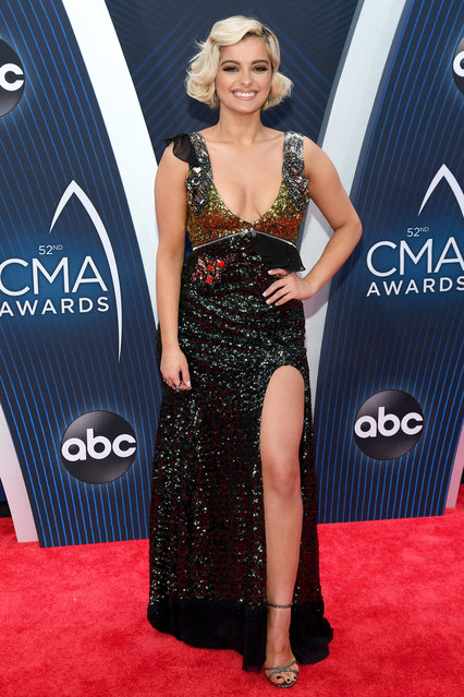 Bebe Rexha attends the 52nd annual CMA Awards at the Bridgestone Arena on November 14, 2018 in Nashville, Tennessee. (Photo by Jason Kempin/Getty Images)