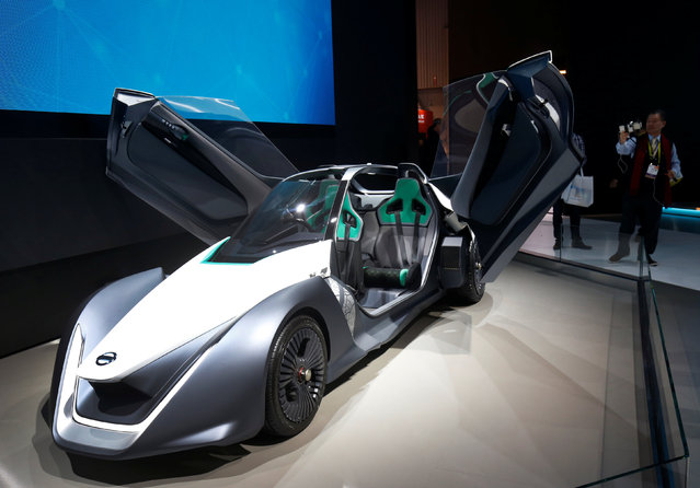 A Nissan BladeGlider electric prototype vehicle is displayed during the 2017 CES in Las Vegas, Nevada January 5, 2017. (Photo by Steve Marcus/Reuters)