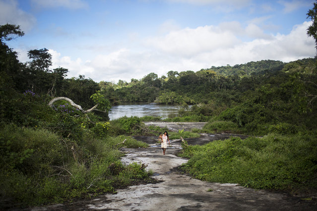 A Xikrin woman walks back to her village from the riverside. Most Xikrin villages are situated next to a river for transport and fishing. (Taylor Weidman)