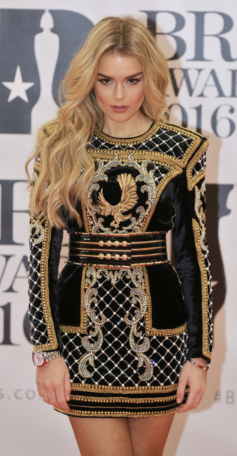 Singer Tallia Storm arrives at the BRIT Awards at the O2 arena in London, February 24, 2016. (Photo by Paul Hackett/Reuters)
