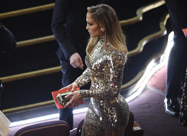 Jennifer Lopez appears in the audience prior to the start of the Oscars on Sunday, February 24, 2019, at the Dolby Theatre in Los Angeles. (Photo by Chris Pizzello/Invision/AP Photo)