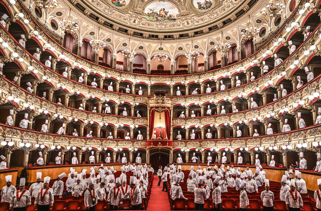 """At theatre Vincenzo Bellini """"Cibo Nostrum 2019"""", the second day of the great feast of Italian cuisine to celebrate the culture of food and wine on April 01, 2019 in Catania, Italy. Organized by the Italian Cooks Federation, the 30th National Congress is held in Catania on 31 March, 1, 2 April 2019. (Photo by Fabrizio Villa/Getty Images)"""