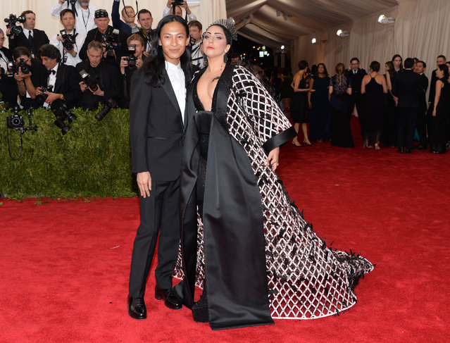 "Alexander Wang and Lady Gaga arrives at The Metropolitan Museum of Art's Costume Institute benefit gala celebrating ""China: Through the Looking Glass"" on Monday, May 4, 2015, in New York. (Photo by Evan Agostini/Invision/AP Photo)"