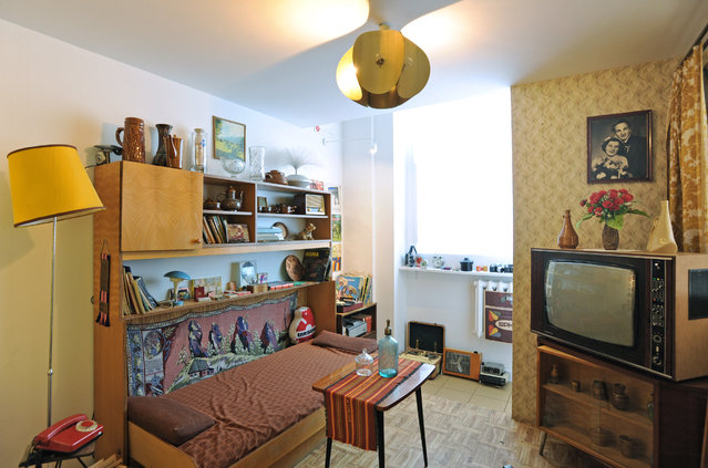 In this Friday, May 8, 2015 photo, a communist-era sitting room is presented in the Charm of PRL museum in Warsaw, Poland. (Photo by Alik Keplicz/AP Photo)