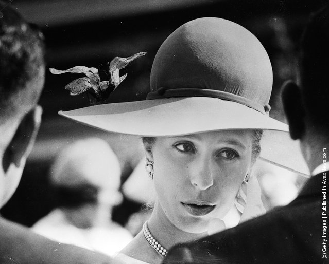 1970: Princess Anne attending a Parliamentary garden party in Brisbane during a royal tour of Australia