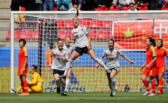 Germany's defender Giulia Gwinn (C) celebrates after scoring a goal during the France 2019 Women's World Cup Group B football match between Germany and China, on June 8, 2019, at the Roazhon Park stadium in Rennes, western France. (Photo by Stephane Mahe/Reuters)