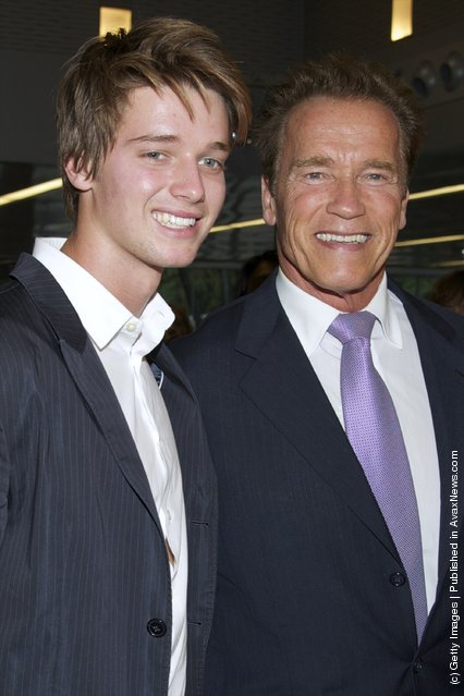 Actor and former California Governor Arnold Schwarzenegger (R) and his son Patrick Schwarzenegger (L)