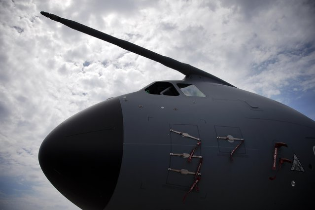 The nose of an Airbus A400M presented at the Paris Air Show, in Le Bourget airport, north of Paris, Tuesday, June 16, 2015. Some 300,000 aviation professionals and spectators are expected at this week's Paris Air Show, coming from around the world to make business deals and see dramatic displays of aeronautic prowess and the latest air and space technology. (AP Photo/Francois Mori)