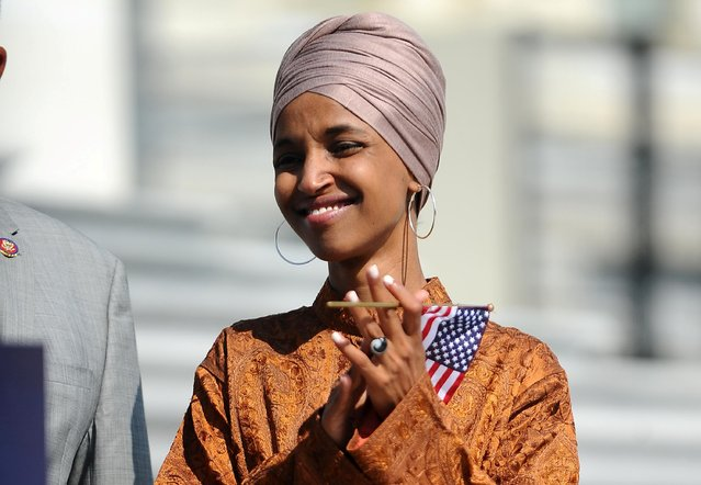 Rep. Ilhan Omar (D-MN) attends a press event on the first 200 days of the 116th Congress at the U.S. Capitol in Washington, U.S., July 25, 2019. (Photo by Mary F. Calvert/Reuters)